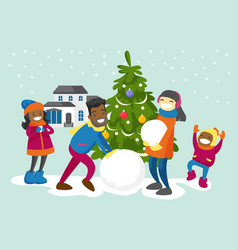 multiracial family making a snowman in the yard vector image vector image