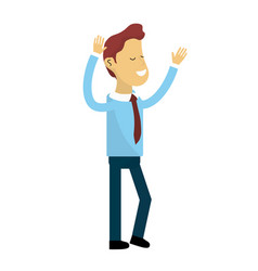 Nice man with hands up and casual wear vector