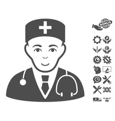 Physician icon with tools bonus vector