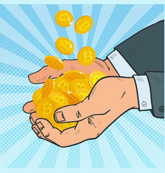 pop art male hands full of golden bitcoin vector image