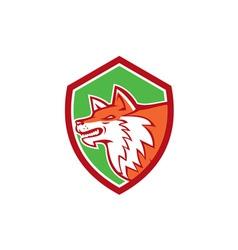 Red Fox Head Pouncing Shield Retro vector image vector image