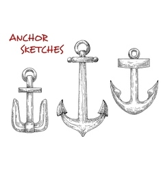 Retro sea anchors sketches set vector