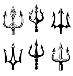 set of trident icons isolated on white background vector image vector image
