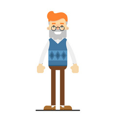 Smiling bearded hipster in glasses character vector