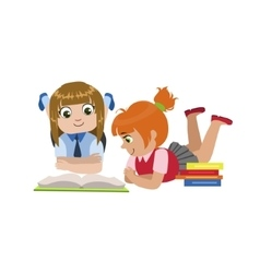 Teo Girls Reading One Book vector image vector image