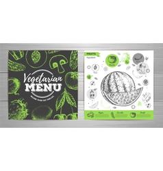 Vintage vegetarian menu design Fresh fruit sketch vector image vector image