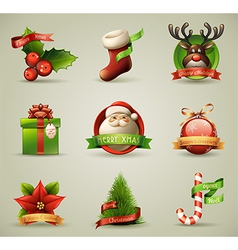 Christmas icons objects collection vector