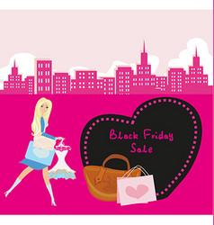 Shopping woman - black friday sale card vector
