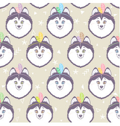 husky seamless background vector image