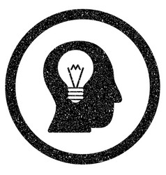 Intellect bulb rounded icon rubber stamp vector