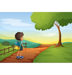 A young boy going to the school vector image