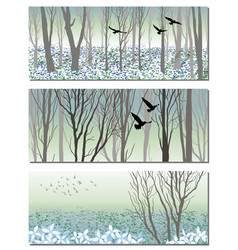 Nature bunners with spring forest and birds vector