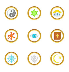 Different religion icons set cartoon style vector