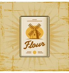 Retro flour pack vector
