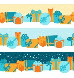 Seamless celebration borders with colorful gift vector