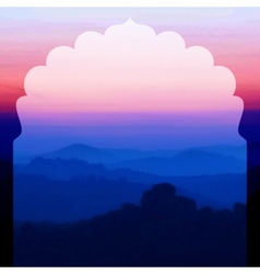 Sunrise in the mountains landscape vector