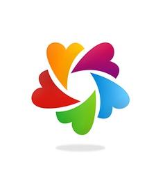 Circular heart love color logo vector