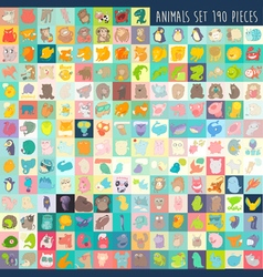 Cute cartoon animals set 190 pieces vector