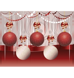 Red and white xmas balls3 vector