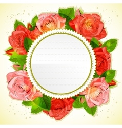 Floral decorative card with roses vector