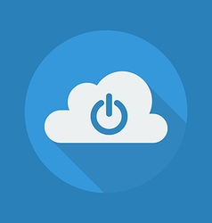 Cloud computing flat icon power button vector