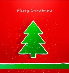 Christmas card with ripped paper tree vector