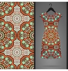 Dress with seamless pattern vector
