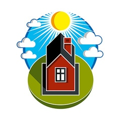 Bright of simple country house on sunrise ba vector image