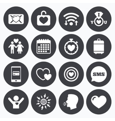 Love valentine day icons target with heart vector