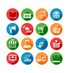 Shopping long shadow icons vector