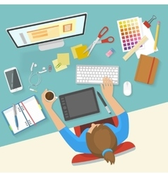Womans Workspace Composition vector image