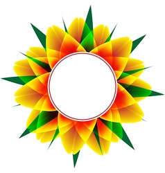 Round frame with sunflower and leafs vector