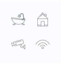 Wifi video camera and real estate icons vector