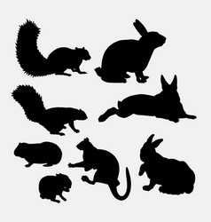 bunny and squirrel mammal animal silhouette vector image vector image