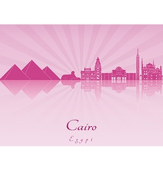 Cairo skyline in purple radiant orchid vector