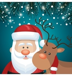 card santa and deer faces snowfall night design vector image