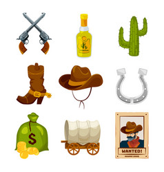 cartoon icon set for wild west theme vector image vector image