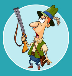 cartoon scared the hunter with a gun in hand vector image vector image