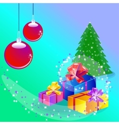 Christmas card with decorated tree and gift boxes vector image