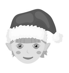 christmas gnome single icon in monochrome style vector image