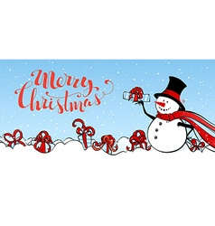 Christmas snowman banner vector image