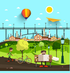 city park life with bridge and town on background vector image vector image