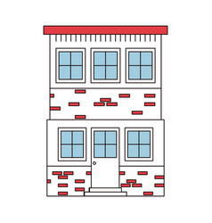 Color sections silhouette house of two floors vector