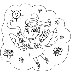 Coloring flying fairy lady vector