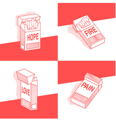 Concept set of pack of cigarettes with different vector