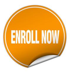 Enroll now round orange sticker isolated on white vector