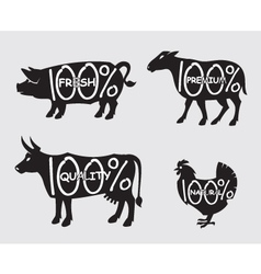 farm animals set vector image