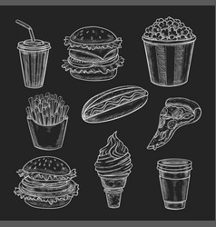 fast food lunch meal chalk sketch on blackboard vector image