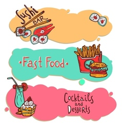 Fast food restaurant banners set vector image