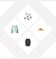 Flat icon clothes set of elegant headgear foot vector